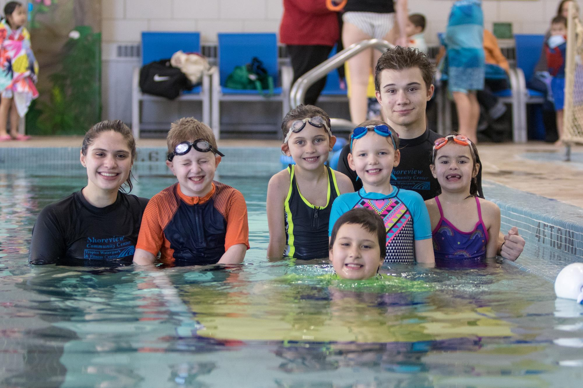 swim lesson instructors and participants