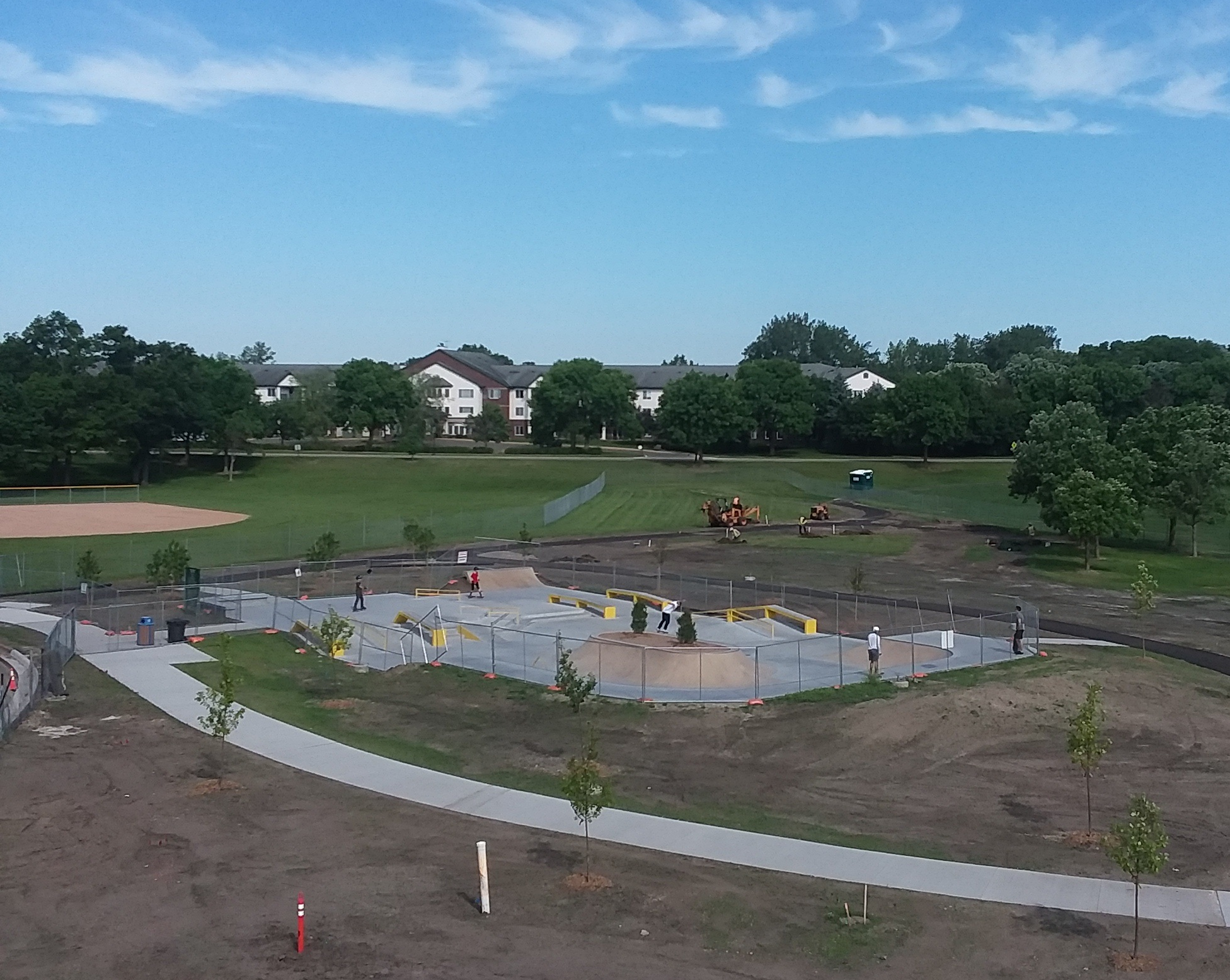 concrete being finished in the new skatepark