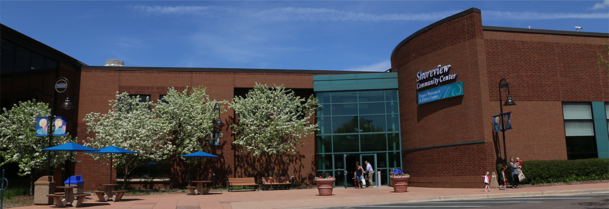 Community center lower entrance during spring